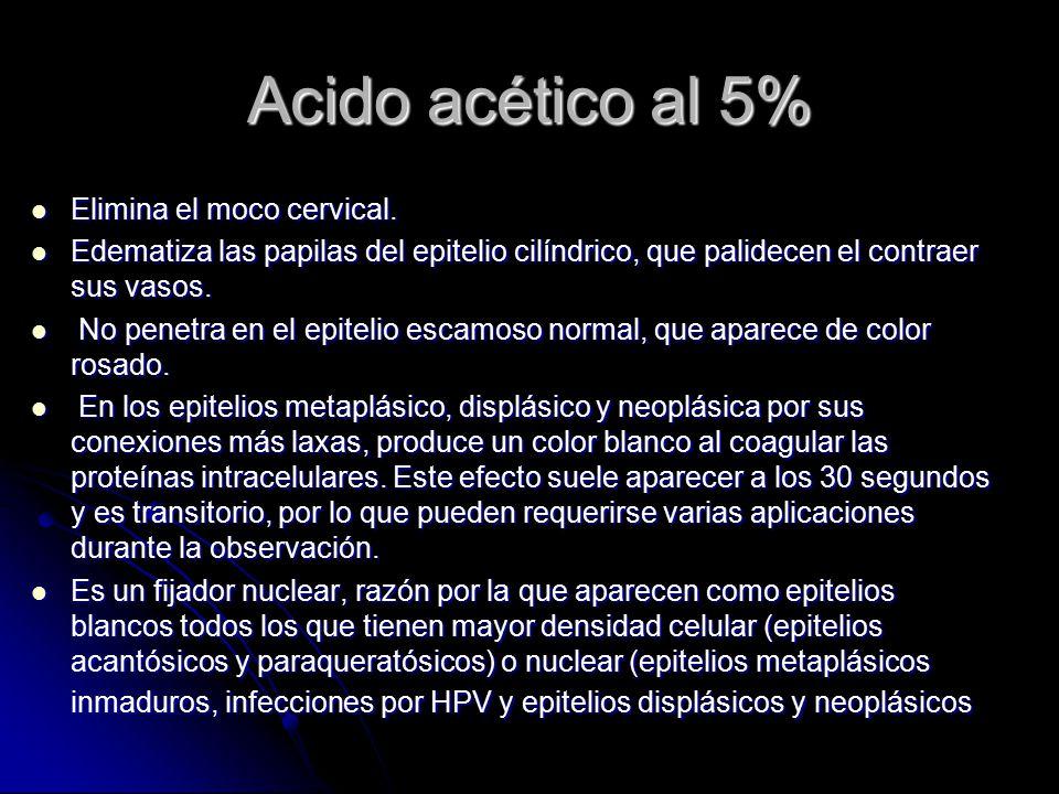 Acido acético al 5% Elimina el moco cervical.