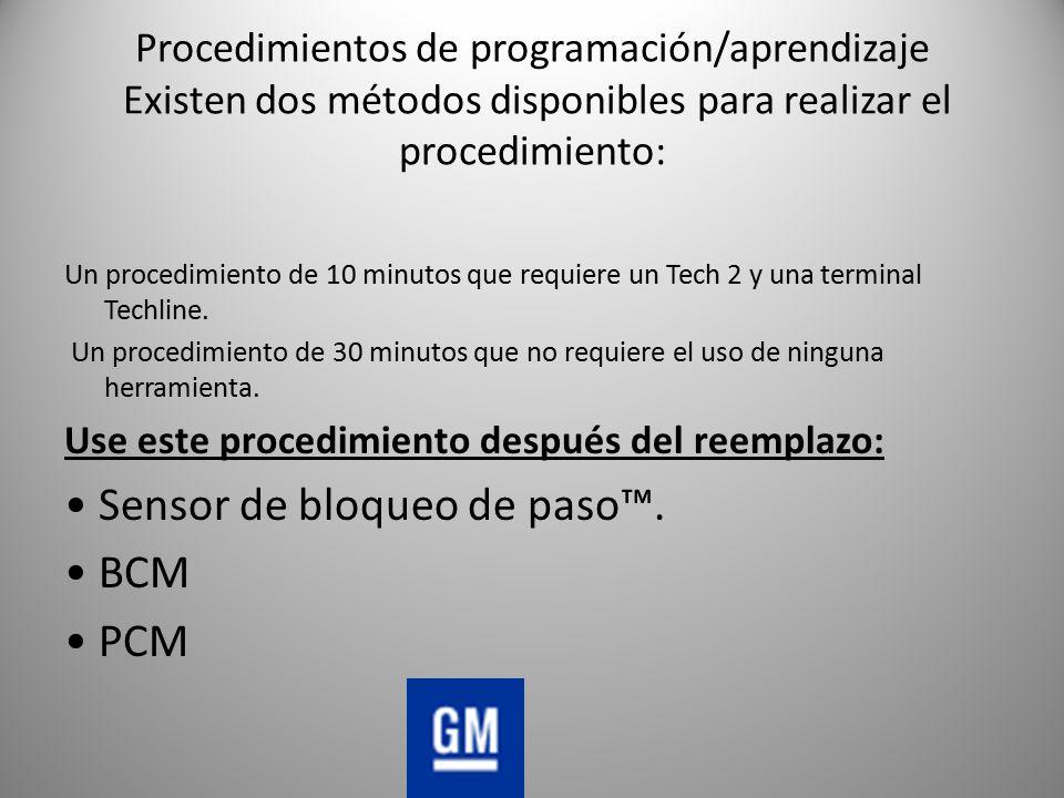 • Sensor de bloqueo de paso™. • BCM • PCM
