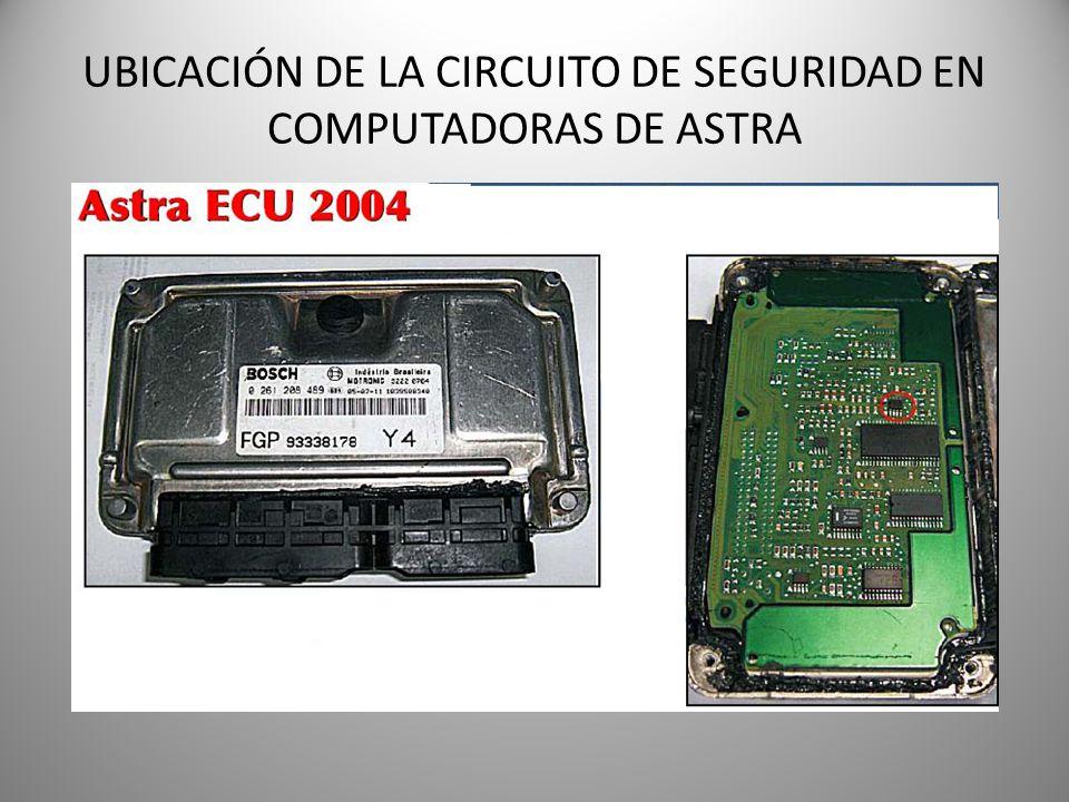 UBICACIÓN DE LA CIRCUITO DE SEGURIDAD EN COMPUTADORAS DE ASTRA