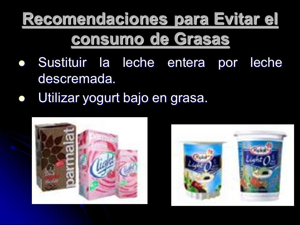 Recomendaciones para Evitar el consumo de Grasas