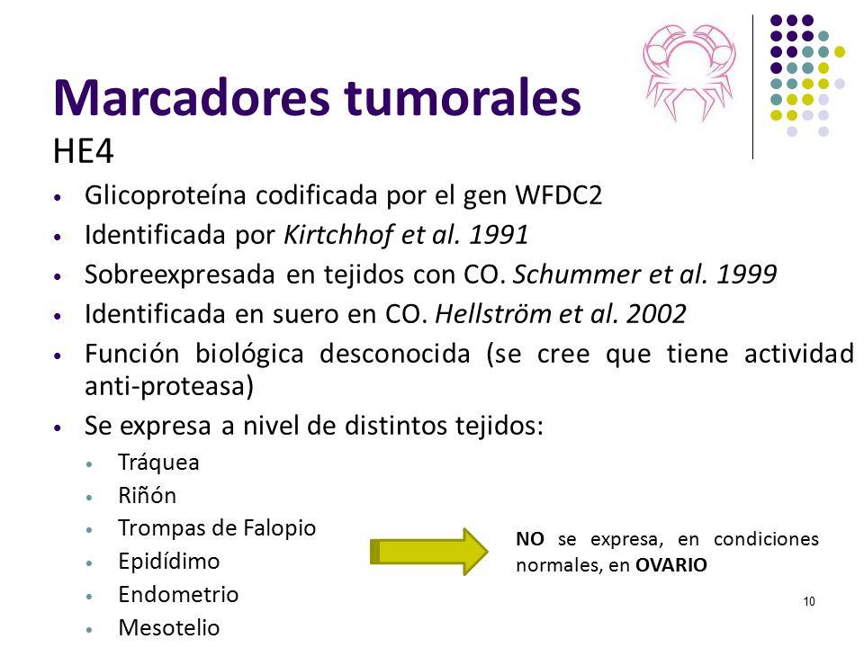 Marcadores tumorales HE4 Glicoproteína codificada por el gen WFDC2