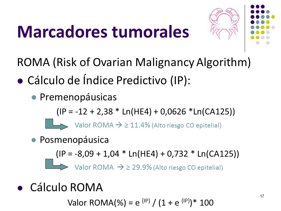 Marcadores tumorales ROMA (Risk of Ovarian Malignancy Algorithm)