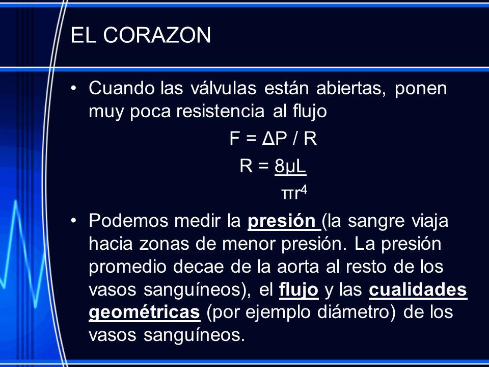 EL CORAZON Cuando las válvulas están abiertas, ponen muy poca resistencia al flujo. F = ΔP / R. R = 8μL.