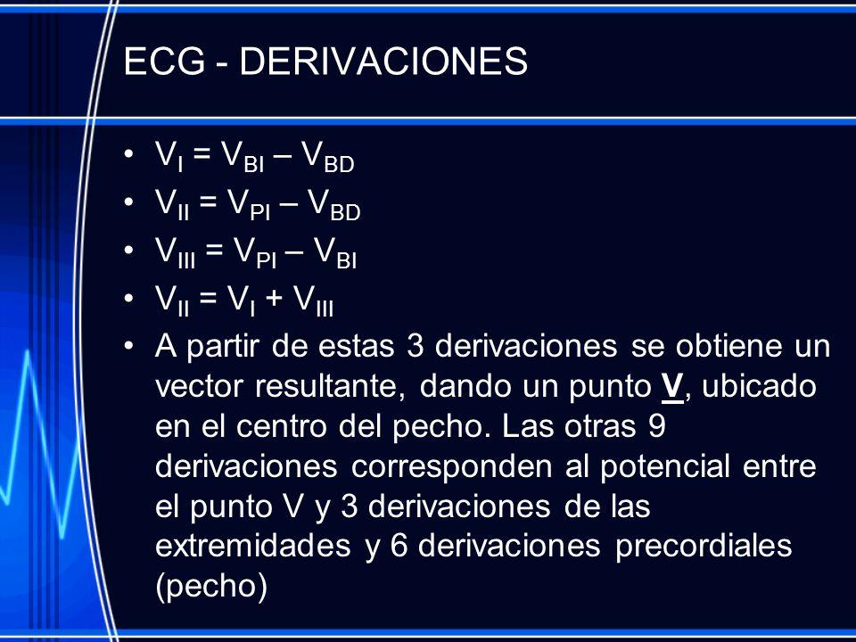 ECG - DERIVACIONES VI = VBI – VBD VII = VPI – VBD VIII = VPI – VBI