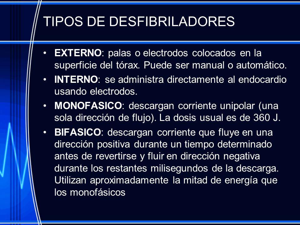 TIPOS DE DESFIBRILADORES