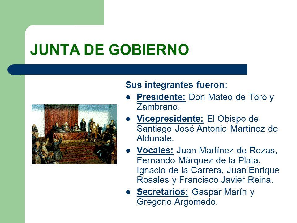 JUNTA DE GOBIERNO Sus integrantes fueron: