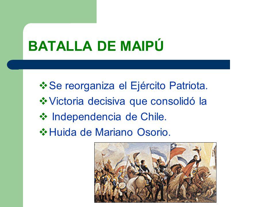 BATALLA DE MAIPÚ Se reorganiza el Ejército Patriota.