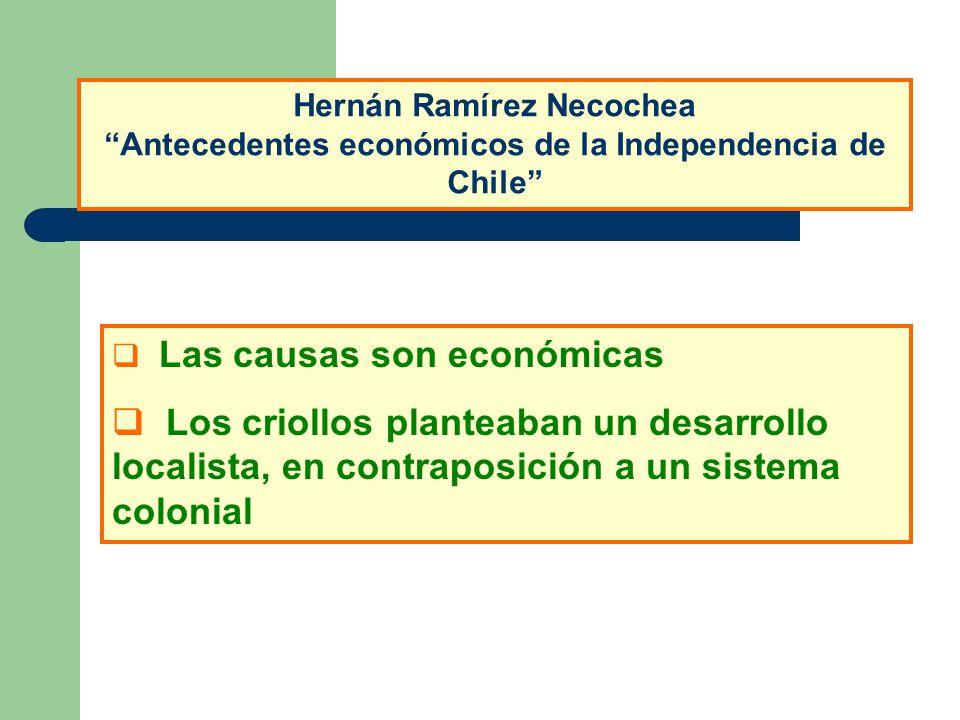 Hernán Ramírez Necochea Antecedentes económicos de la Independencia de Chile