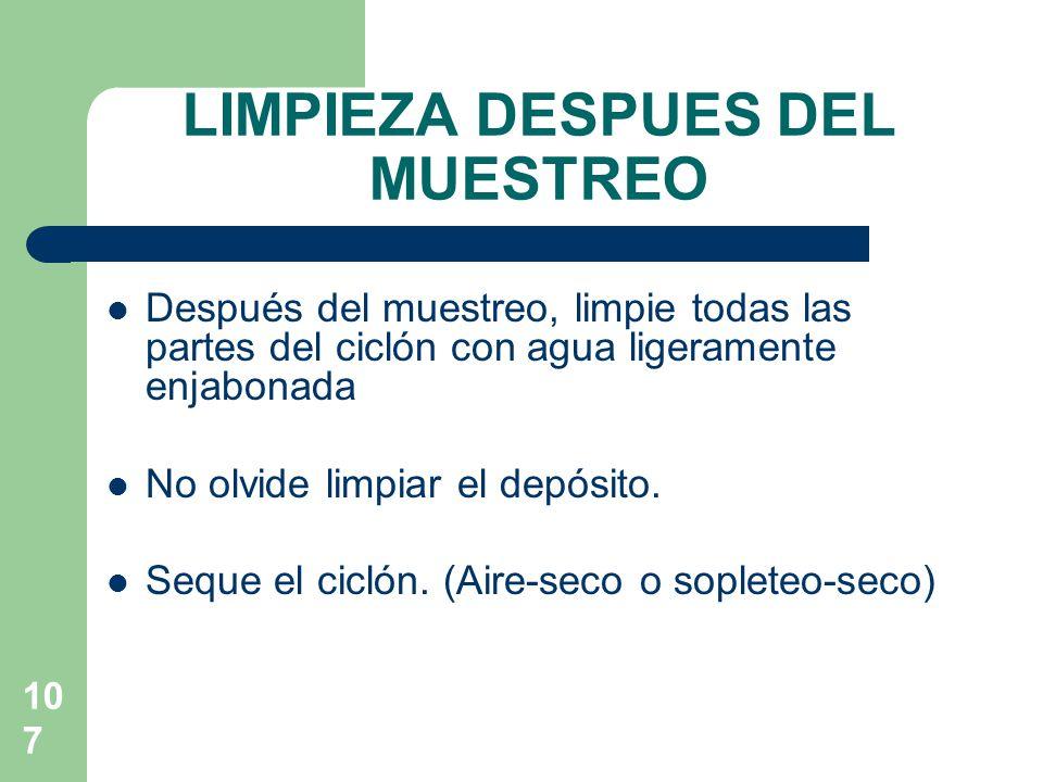 LIMPIEZA DESPUES DEL MUESTREO