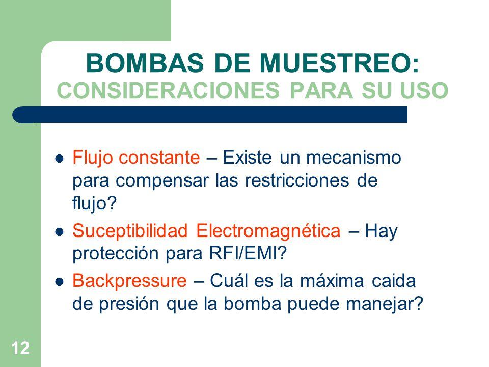BOMBAS DE MUESTREO: CONSIDERACIONES PARA SU USO