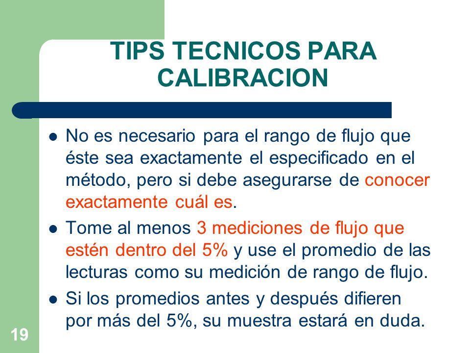 TIPS TECNICOS PARA CALIBRACION