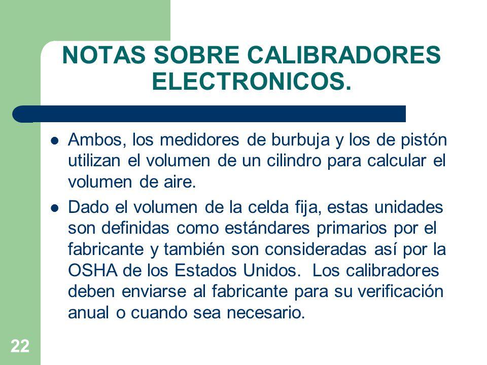 NOTAS SOBRE CALIBRADORES ELECTRONICOS.