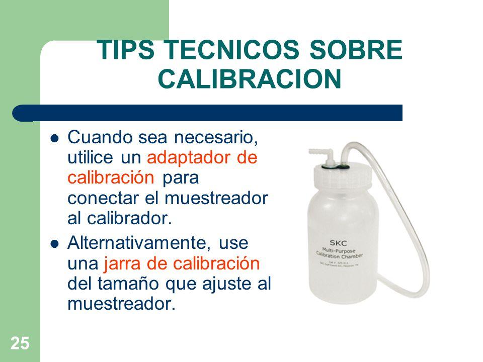 TIPS TECNICOS SOBRE CALIBRACION