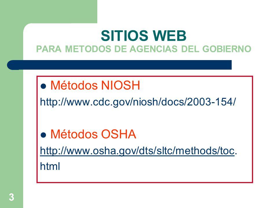 SITIOS WEB PARA METODOS DE AGENCIAS DEL GOBIERNO