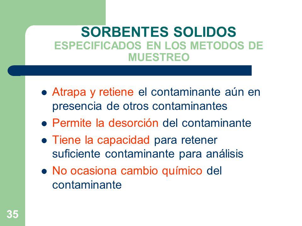 SORBENTES SOLIDOS ESPECIFICADOS EN LOS METODOS DE MUESTREO