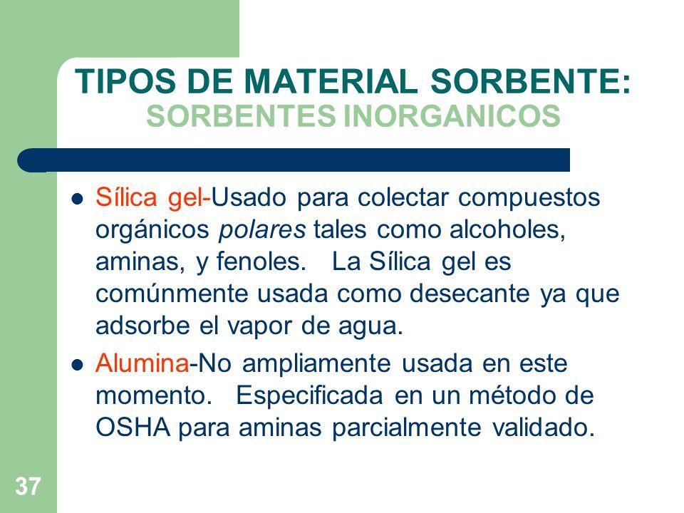 TIPOS DE MATERIAL SORBENTE: SORBENTES INORGANICOS