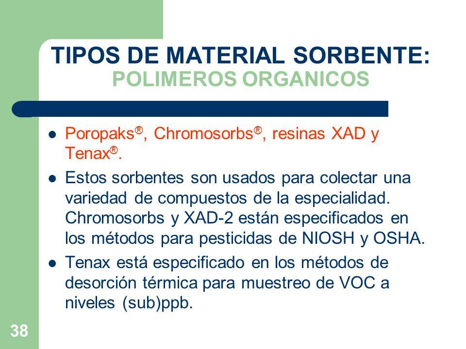 TIPOS DE MATERIAL SORBENTE: POLIMEROS ORGANICOS