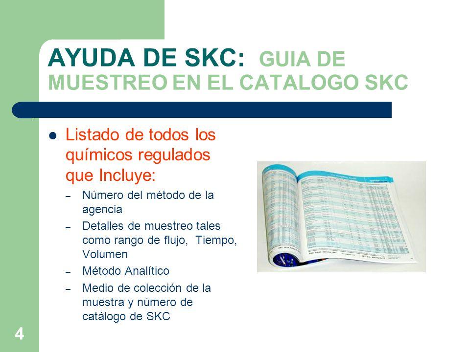 AYUDA DE SKC: GUIA DE MUESTREO EN EL CATALOGO SKC