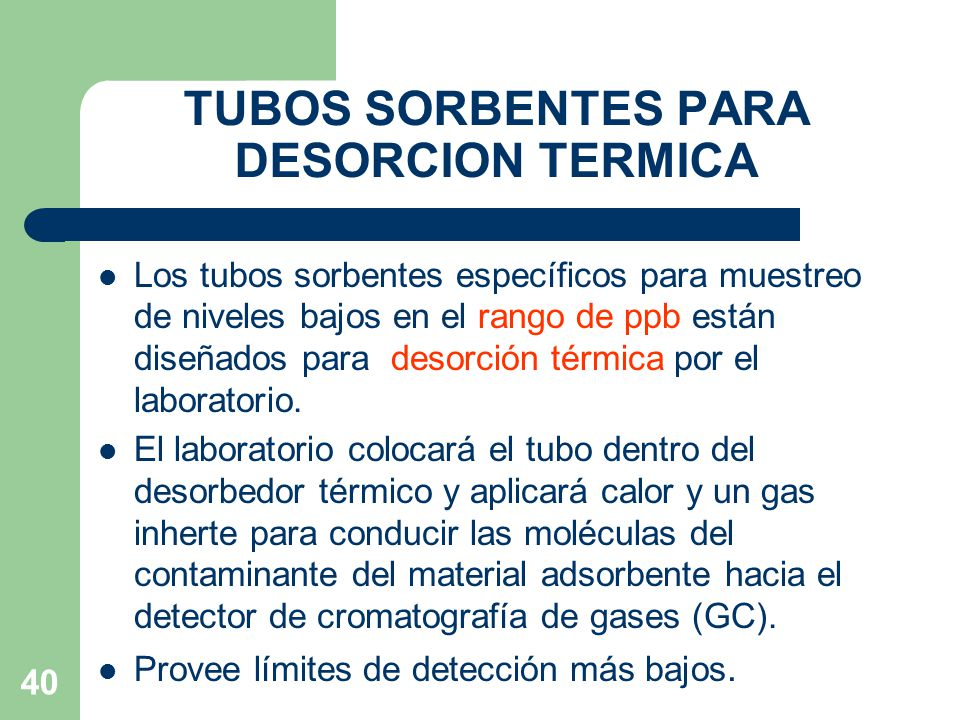 TUBOS SORBENTES PARA DESORCION TERMICA