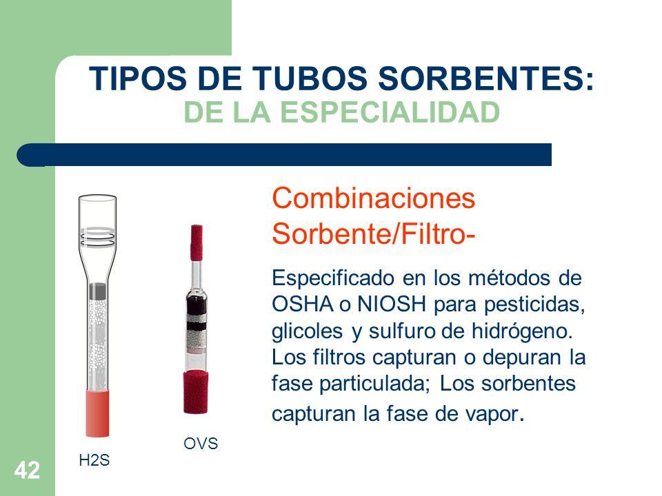 TIPOS DE TUBOS SORBENTES: DE LA ESPECIALIDAD
