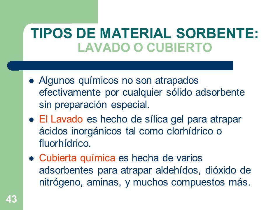 TIPOS DE MATERIAL SORBENTE: LAVADO O CUBIERTO