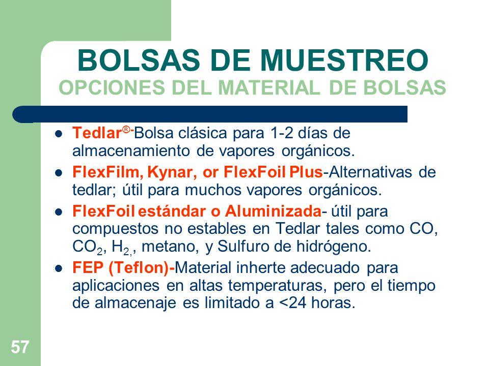 BOLSAS DE MUESTREO OPCIONES DEL MATERIAL DE BOLSAS