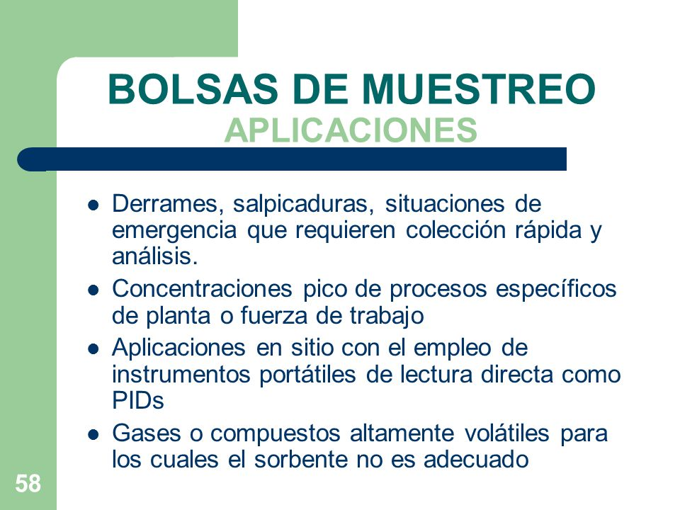 BOLSAS DE MUESTREO APLICACIONES