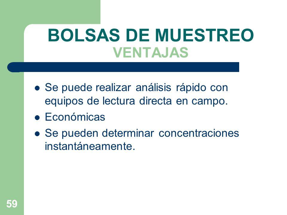 BOLSAS DE MUESTREO VENTAJAS