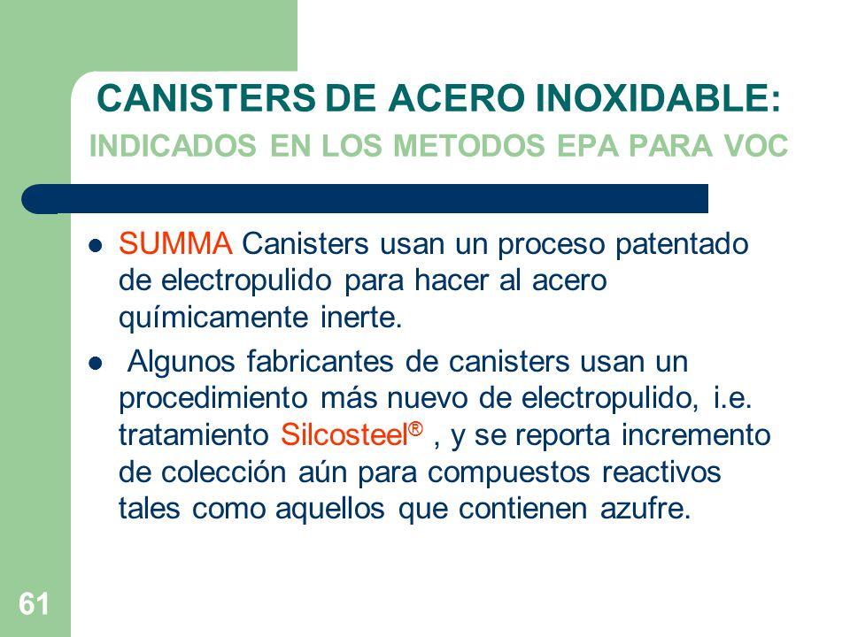 CANISTERS DE ACERO INOXIDABLE: INDICADOS EN LOS METODOS EPA PARA VOC