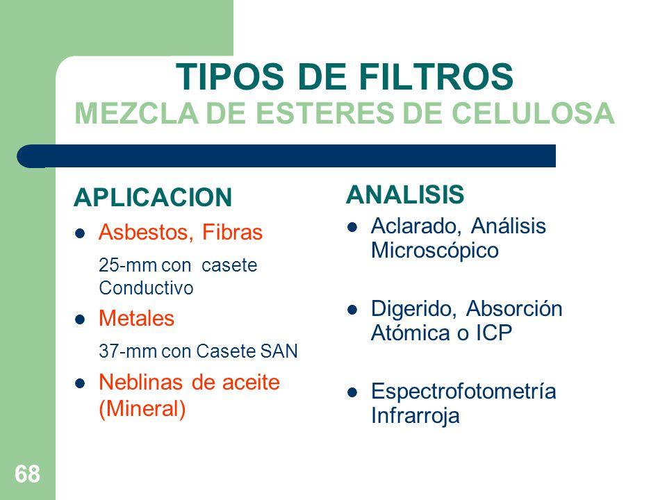 TIPOS DE FILTROS MEZCLA DE ESTERES DE CELULOSA