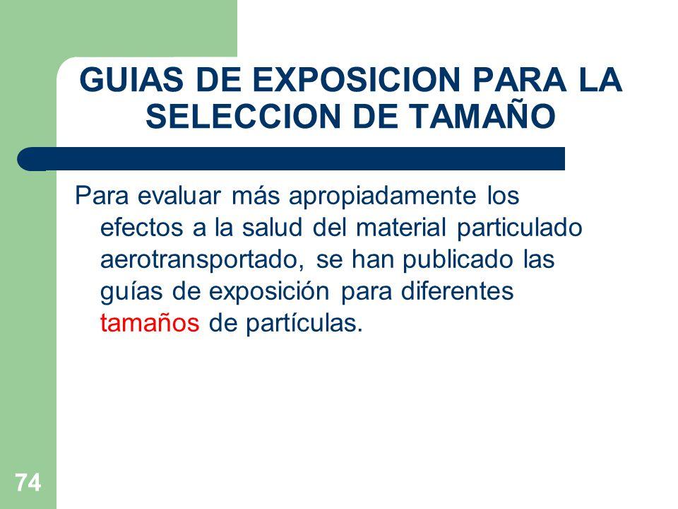 GUIAS DE EXPOSICION PARA LA SELECCION DE TAMAÑO