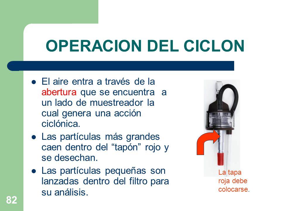 OPERACION DEL CICLON El aire entra a través de la abertura que se encuentra a un lado de muestreador la cual genera una acción ciclónica.