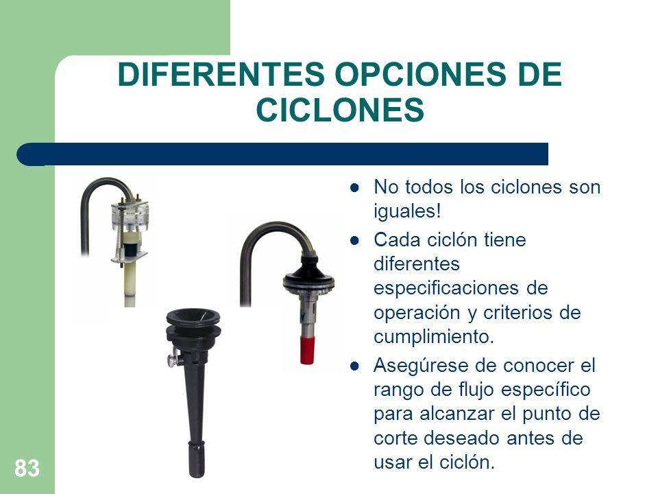 DIFERENTES OPCIONES DE CICLONES