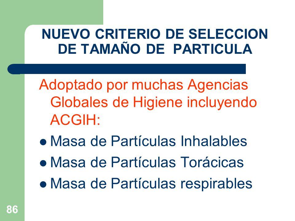 NUEVO CRITERIO DE SELECCION DE TAMAÑO DE PARTICULA
