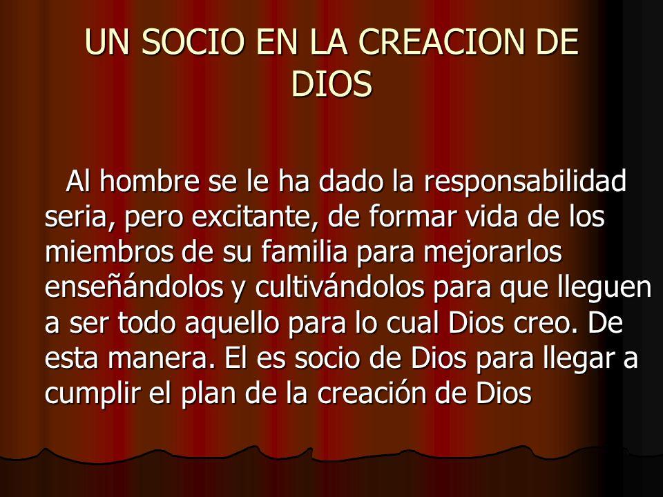 UN SOCIO EN LA CREACION DE DIOS