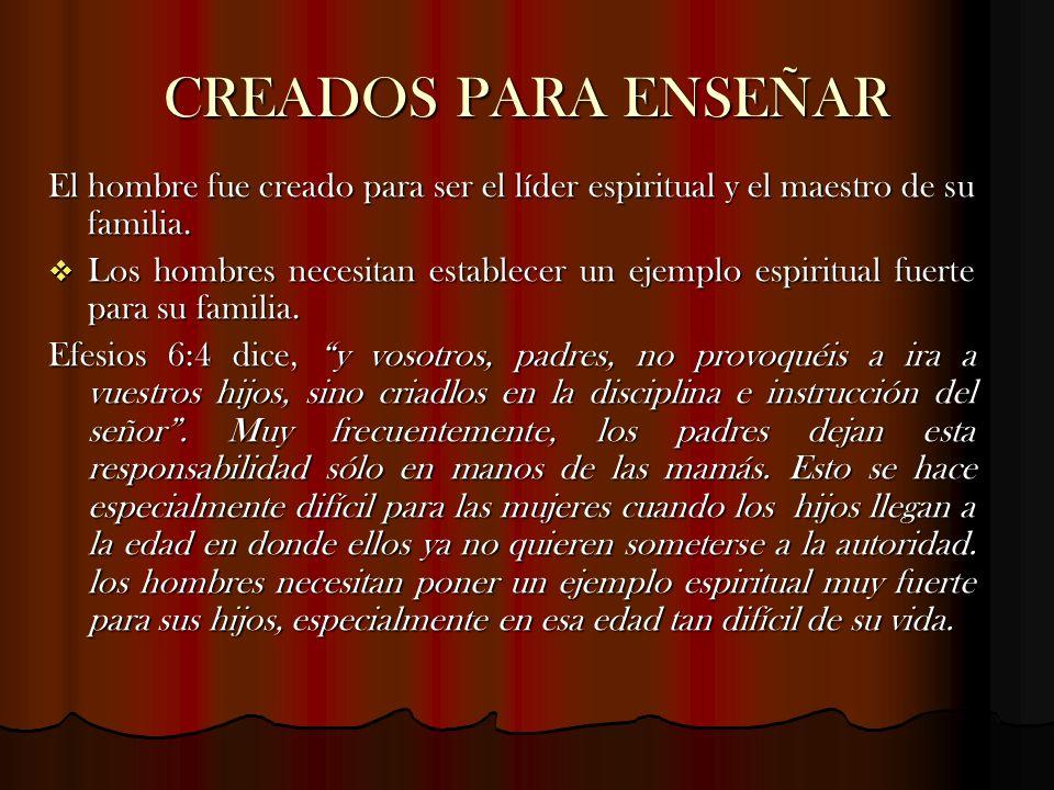 CREADOS PARA ENSEÑAREl hombre fue creado para ser el líder espiritual y el maestro de su familia.
