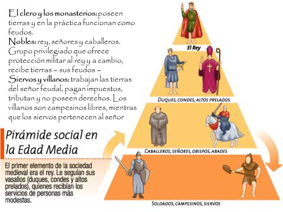 El clero y los monasterios: poseen tierras y en la práctica funcionan como feudos.