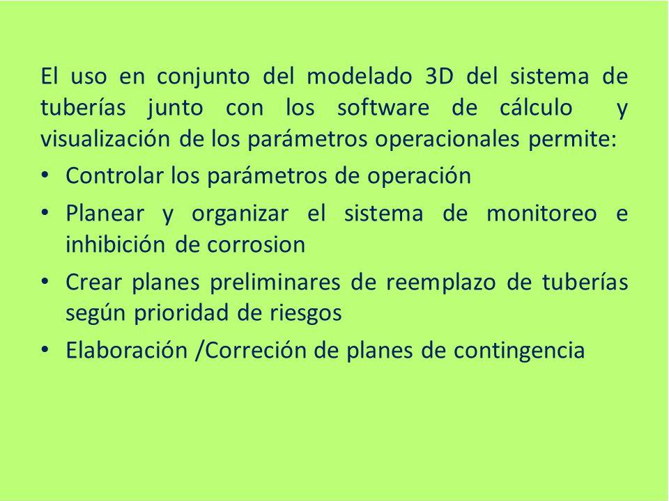 El uso en conjunto del modelado 3D del sistema de tuberías junto con los software de cálculo y visualización de los parámetros operacionales permite: