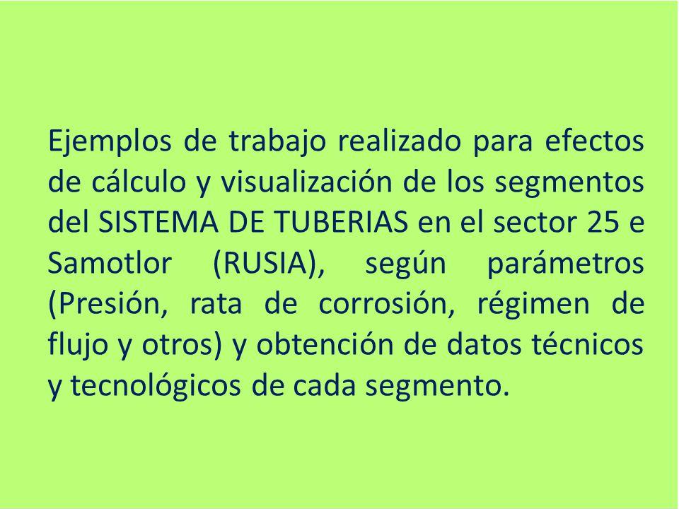 Ejemplos de trabajo realizado para efectos de cálculo y visualización de los segmentos del SISTEMA DE TUBERIAS en el sector 25 e Samotlor (RUSIA), según parámetros (Presión, rata de corrosión, régimen de flujo y otros) y obtención de datos técnicos y tecnológicos de cada segmento.