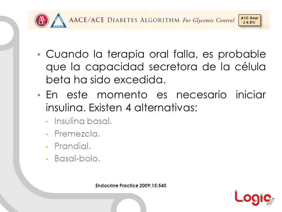 En este momento es necesario iniciar insulina. Existen 4 alternativas: