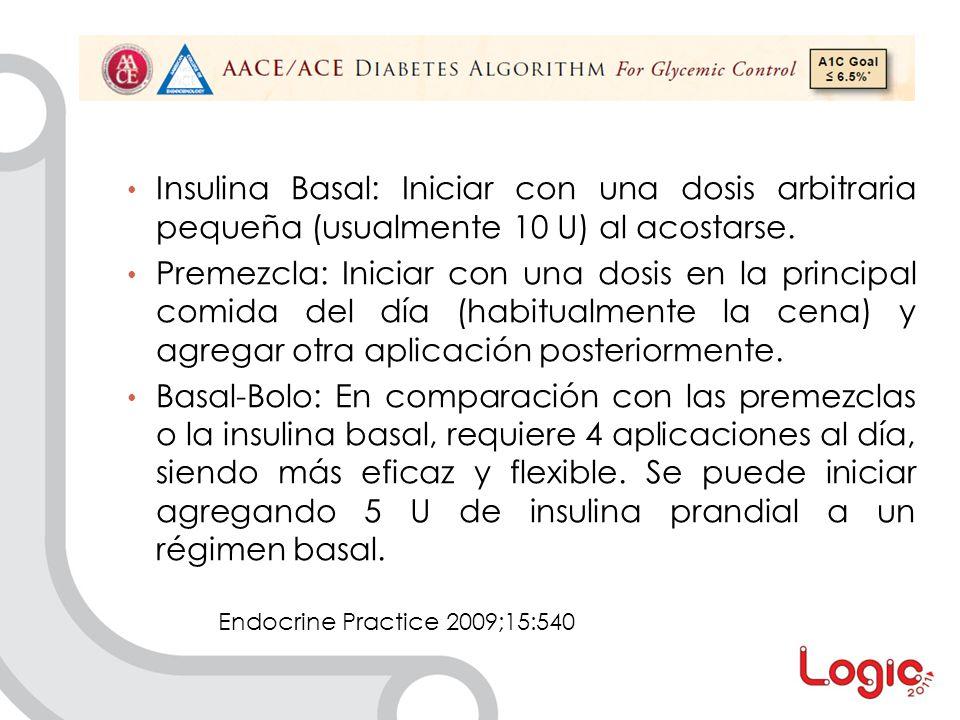 Insulina Basal: Iniciar con una dosis arbitraria pequeña (usualmente 10 U) al acostarse.