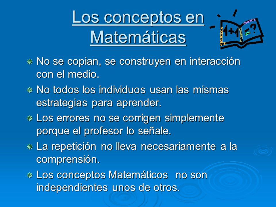 Los conceptos en Matemáticas