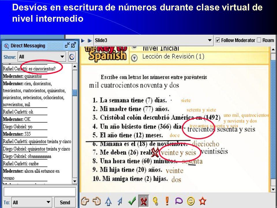 Desvíos en escritura de números durante clase virtual de