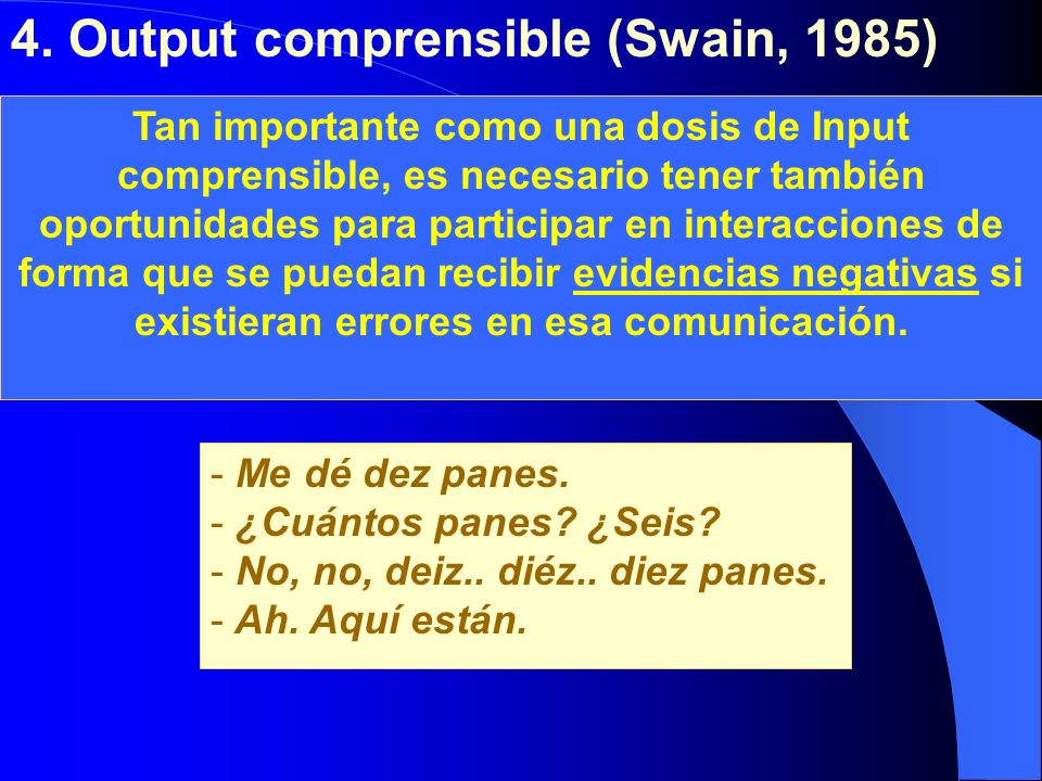 4. Output comprensible (Swain, 1985)