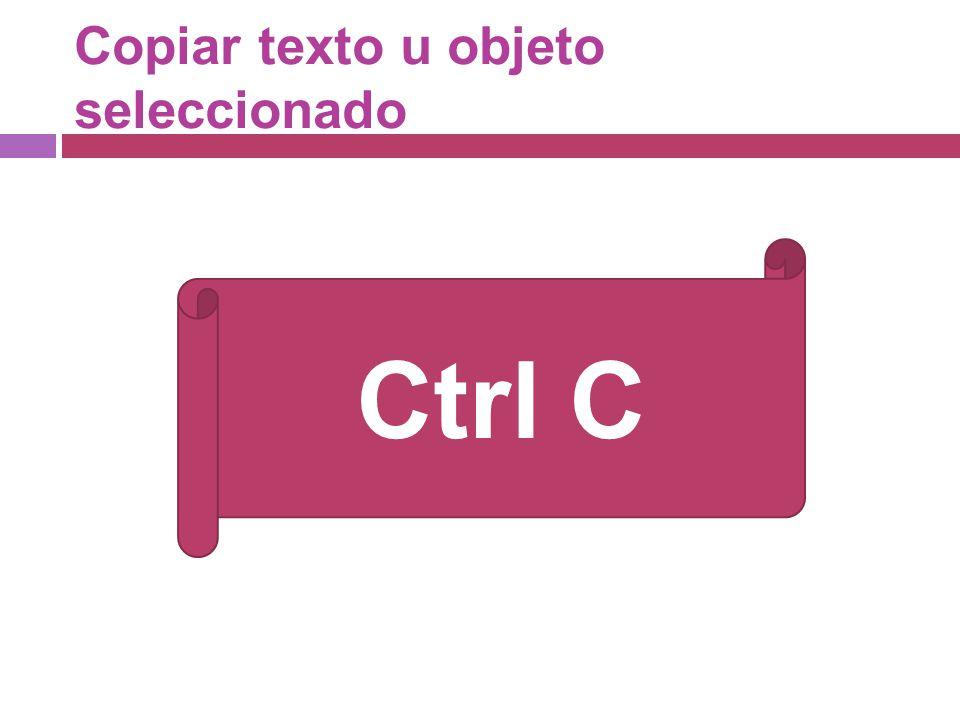 Copiar texto u objeto seleccionado