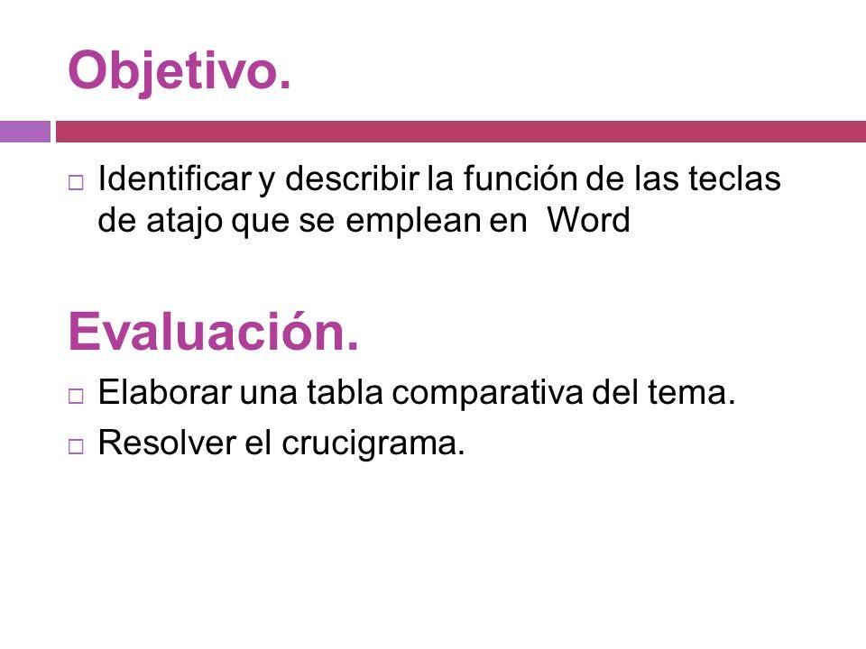 Objetivo. Identificar y describir la función de las teclas de atajo que se emplean en Word. Evaluación.