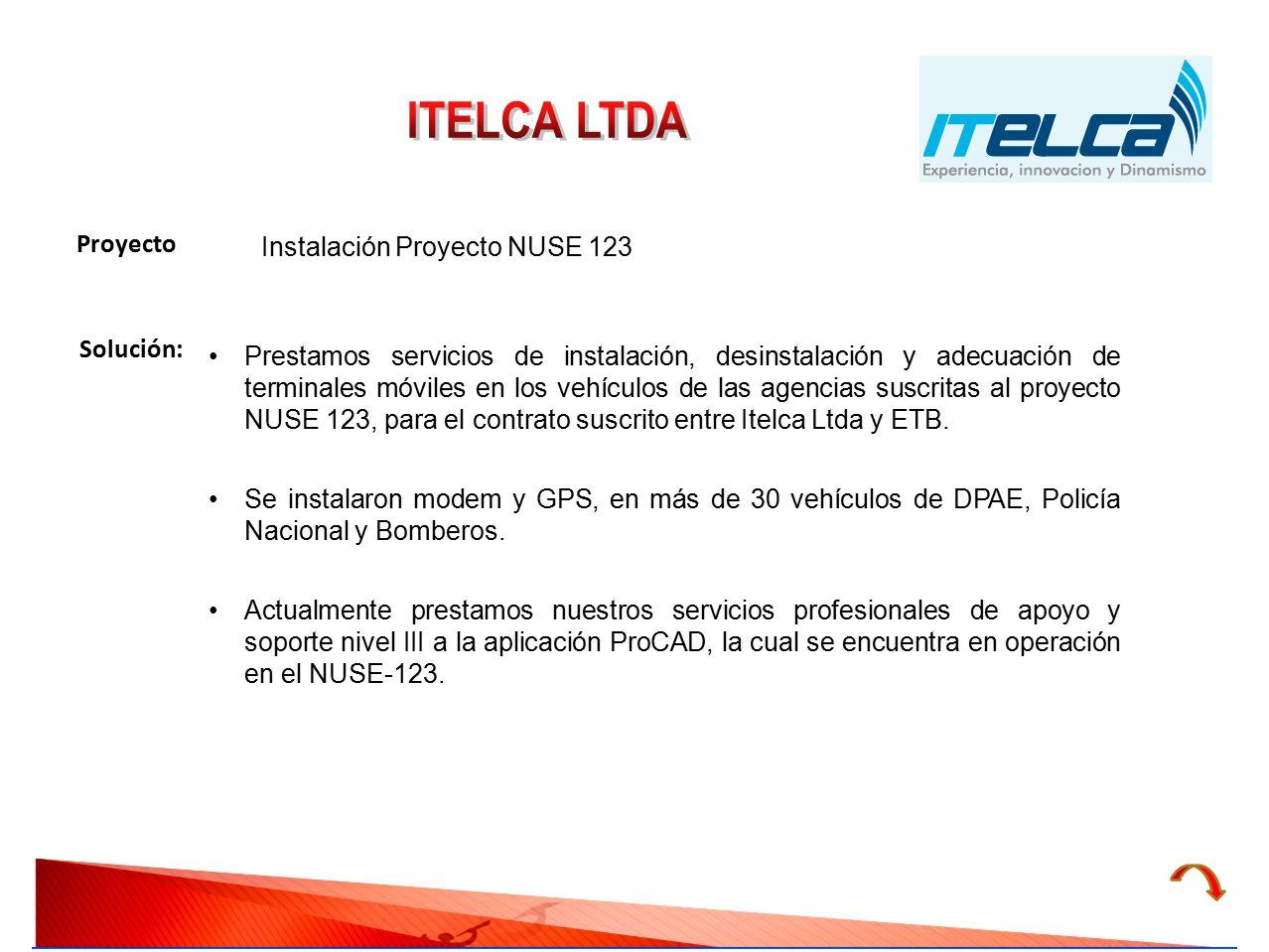 ITELCA LTDA Proyecto Instalación Proyecto NUSE 123 Solución:
