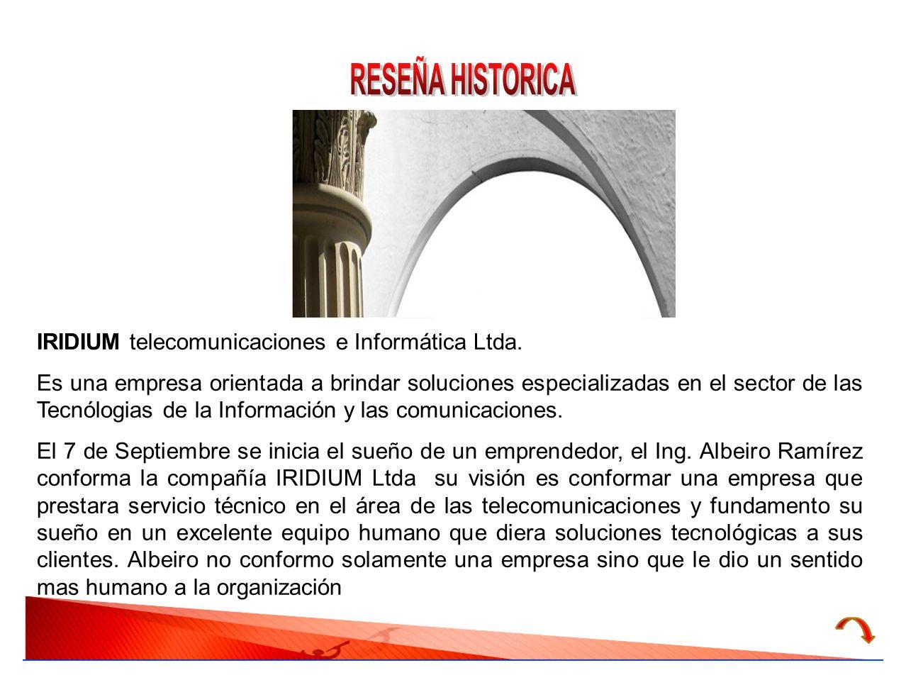 RESEÑA HISTORICA IRIDIUM telecomunicaciones e Informática Ltda.