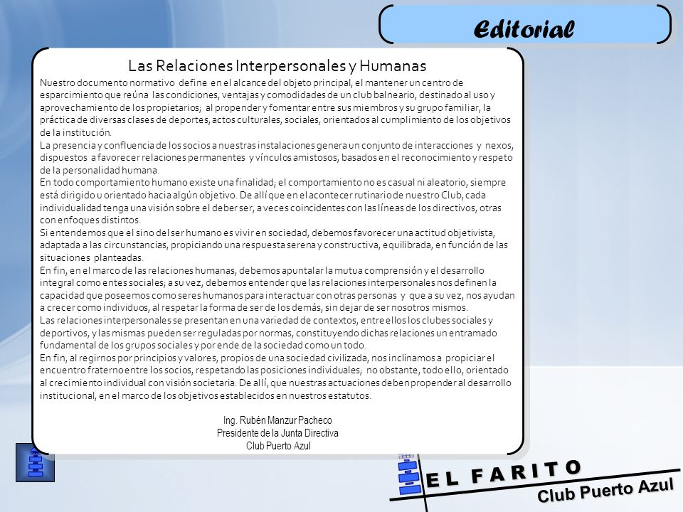 Editorial Las Relaciones Interpersonales y Humanas