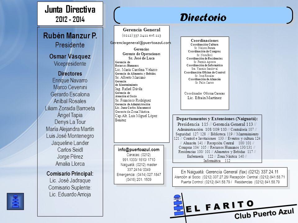Directorio Junta Directiva Rubén Manzur P. 2012 - 2014 Presidente